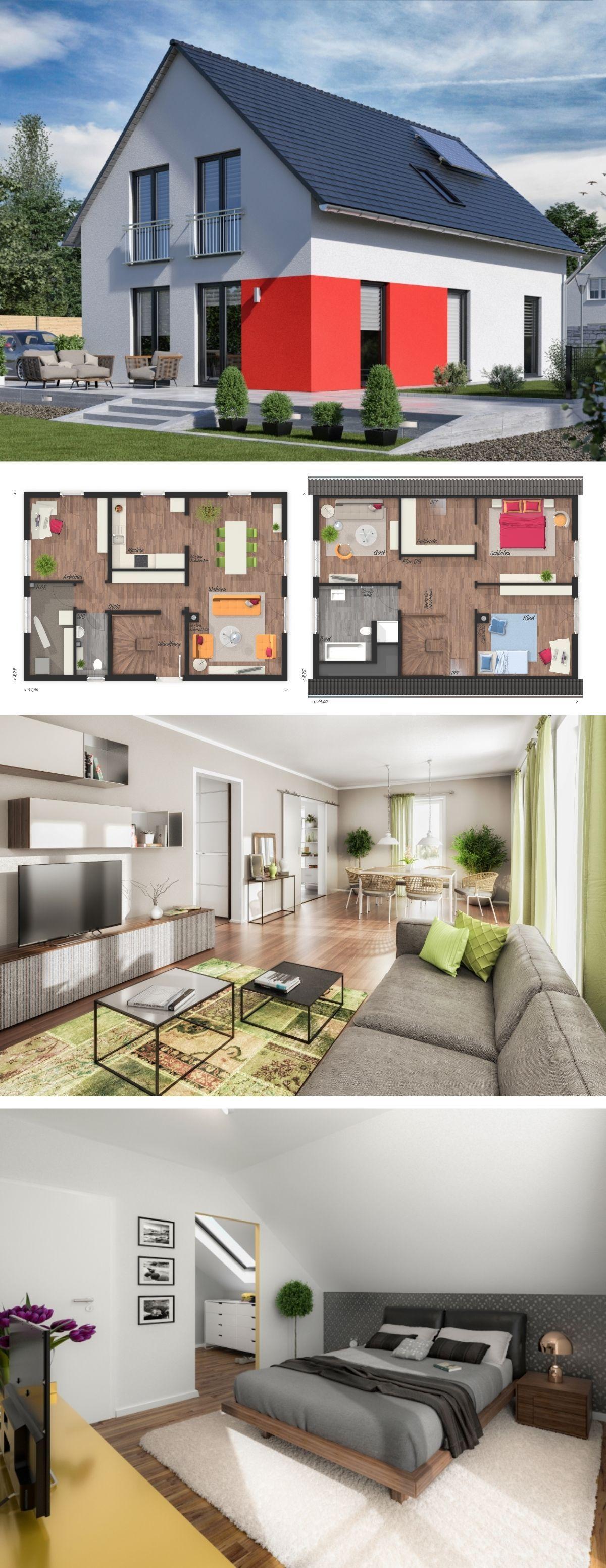 Modernes Haus Design klassisch mit Satteldach Architektur & Fassade ...