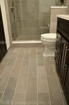 Bathroom Tile Floor Ideas | Bathroom Plank Tile Flooring Design ...