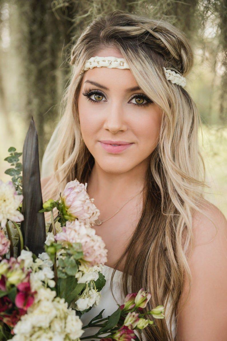Boho chic bachelorette headband veil headband