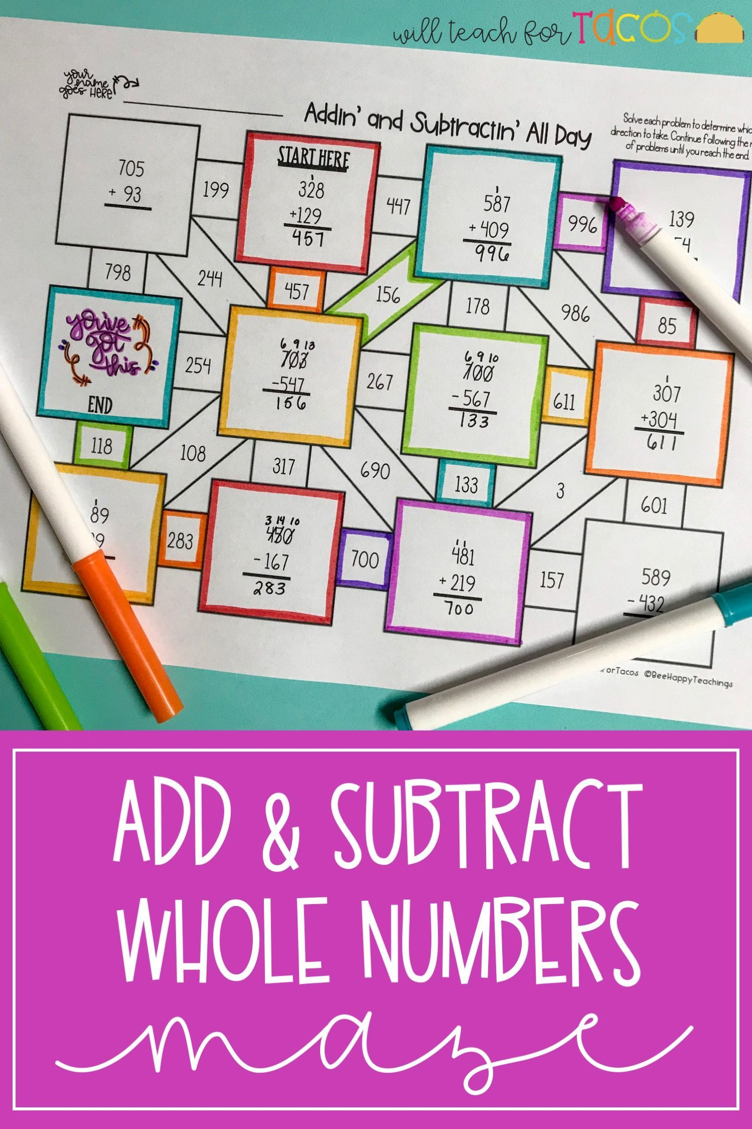 Addition And Subtraction Maze 3 4a Elementary Math Games Addition And Subtraction Third Grade Math Games [ 2249 x 1499 Pixel ]