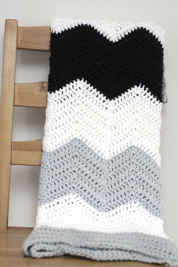 Large Stripe Color Block Crochet Chevron Blanket Pattern | Manta ...