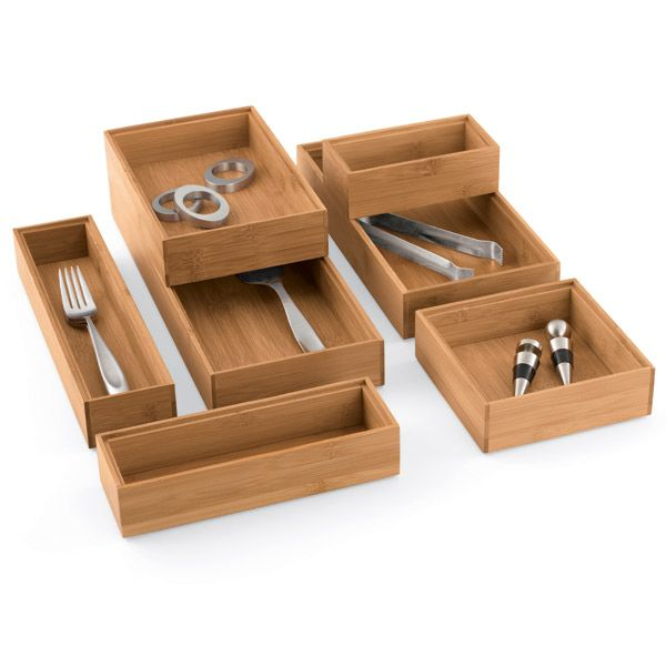 mix and match our handsome stackable bamboo drawer organizers to create a custom solution for