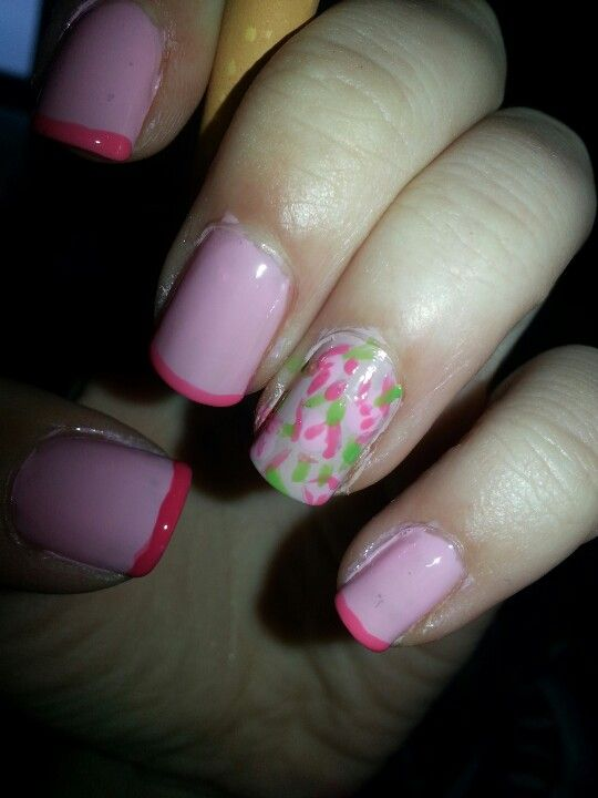 Pink french and flowers