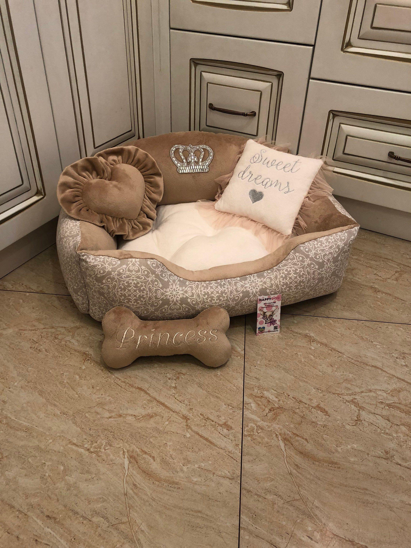 Cream And Beige Designer Dog Bed Princess Dog Bed Custom Made Dog