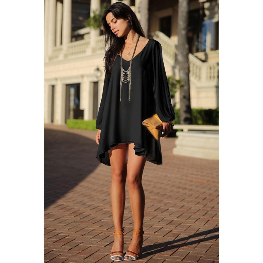 Black Asymmetrical Hem Chiffon Dress Beautiful Black Dresses Chiffon Mini Dress Mini Black Dress [ 900 x 900 Pixel ]