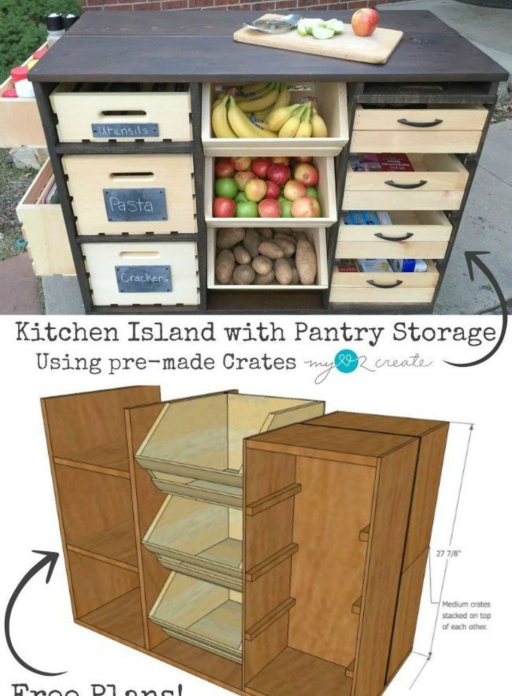 Rolling Kitchen Island And Pantry Storage Diy Diy Kitchen Island