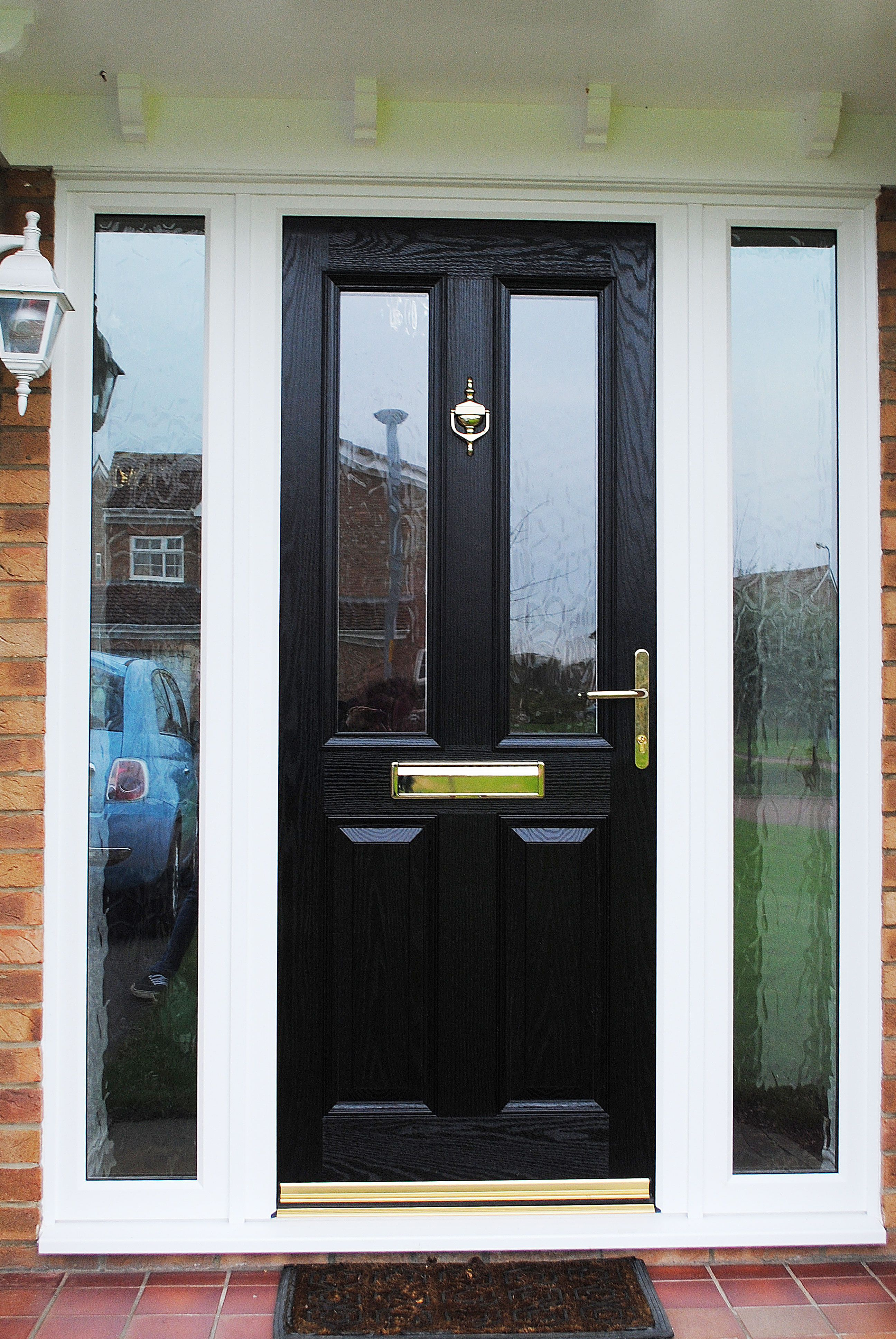 A Elegant Altmore Composite door with Pilkington Textured Glass design and side panels with golden fixtures & A Elegant Altmore Composite door with Pilkington Textured Glass ...