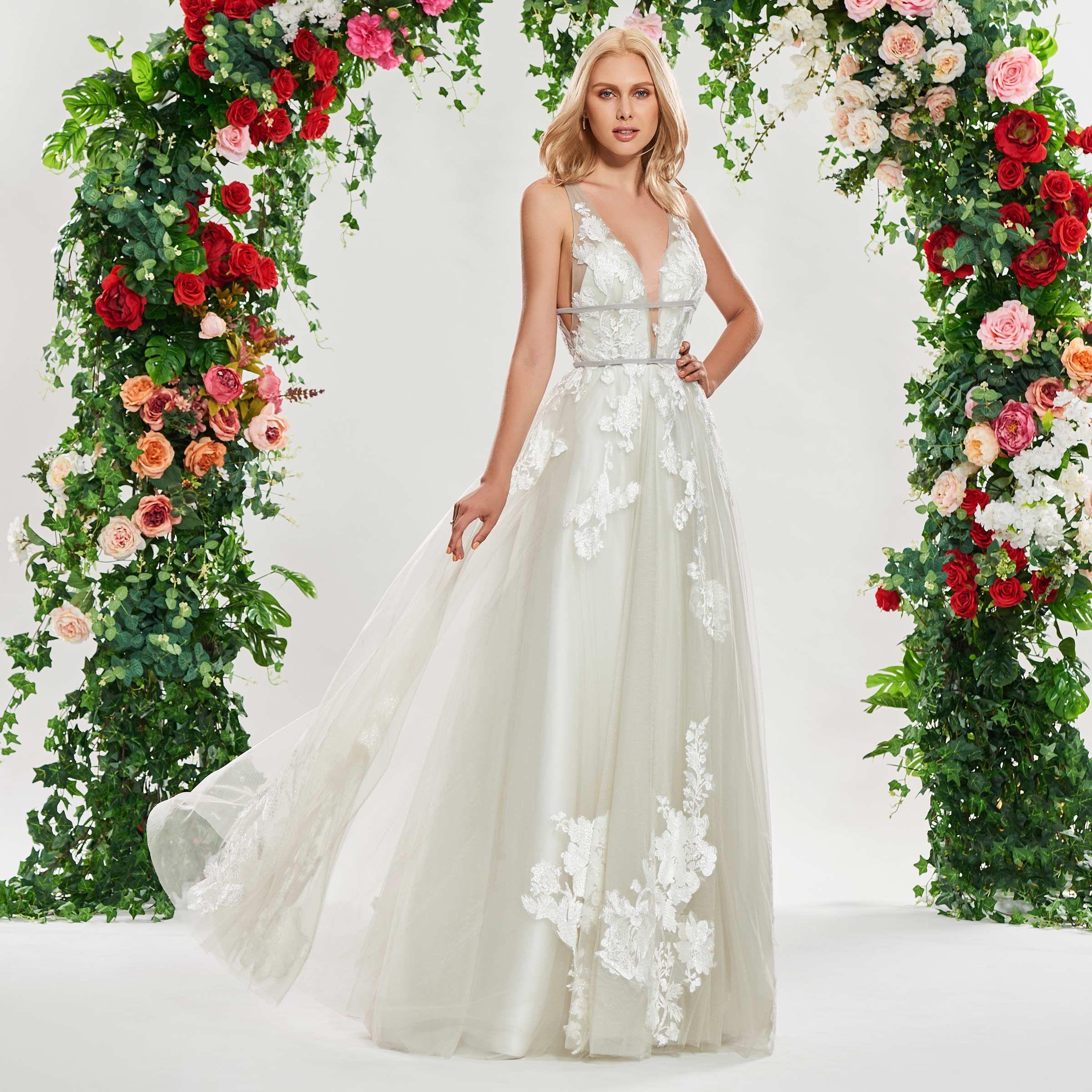 A Line V Neck Backless Beach Wedding Dress Beach Wedding Dresses Backless Applique Wedding Dress Beach Wedding Dress
