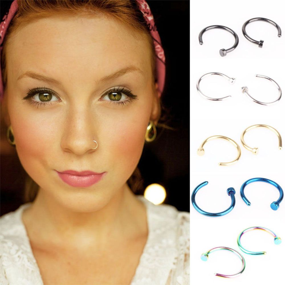 Nose piercing for boys  Pcs Open Jewelry Steel Stainless Hoop Body Piercing Earring Jewelry
