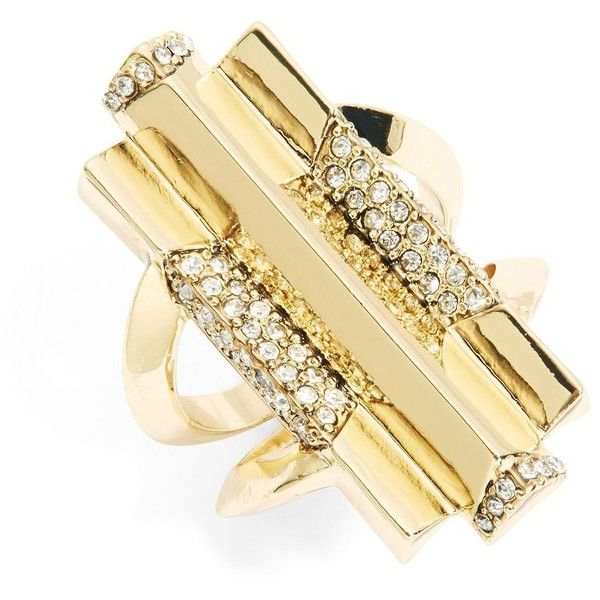 House Of Harlow 1960 Rhinestone Cocktail Ring ($78) ❤ liked on Polyvore featuring jewelry, rings, gold, deco ring, gold tone jewelry, statement rings, glitter rings and house of harlow 1960 jewelry