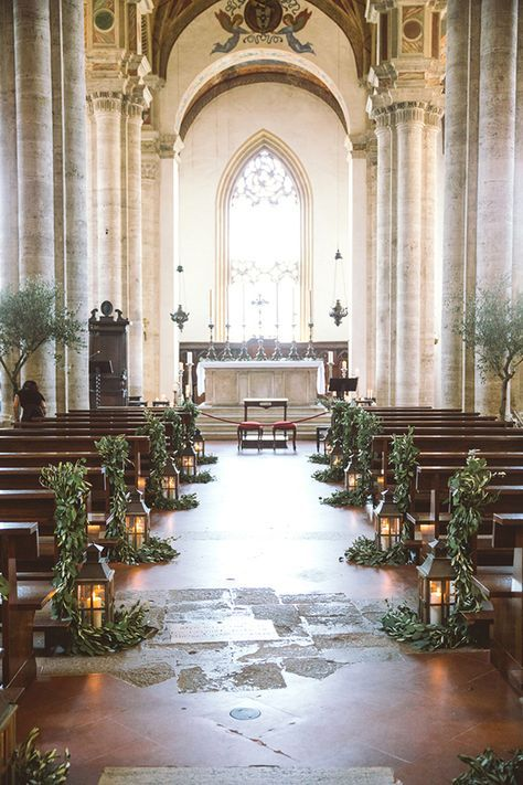 Olive trees or leaves used for wedding decor inside a church its olive trees or leaves used for wedding decor inside a church its rustic organic and a little bit pretty all at same time junglespirit Image collections