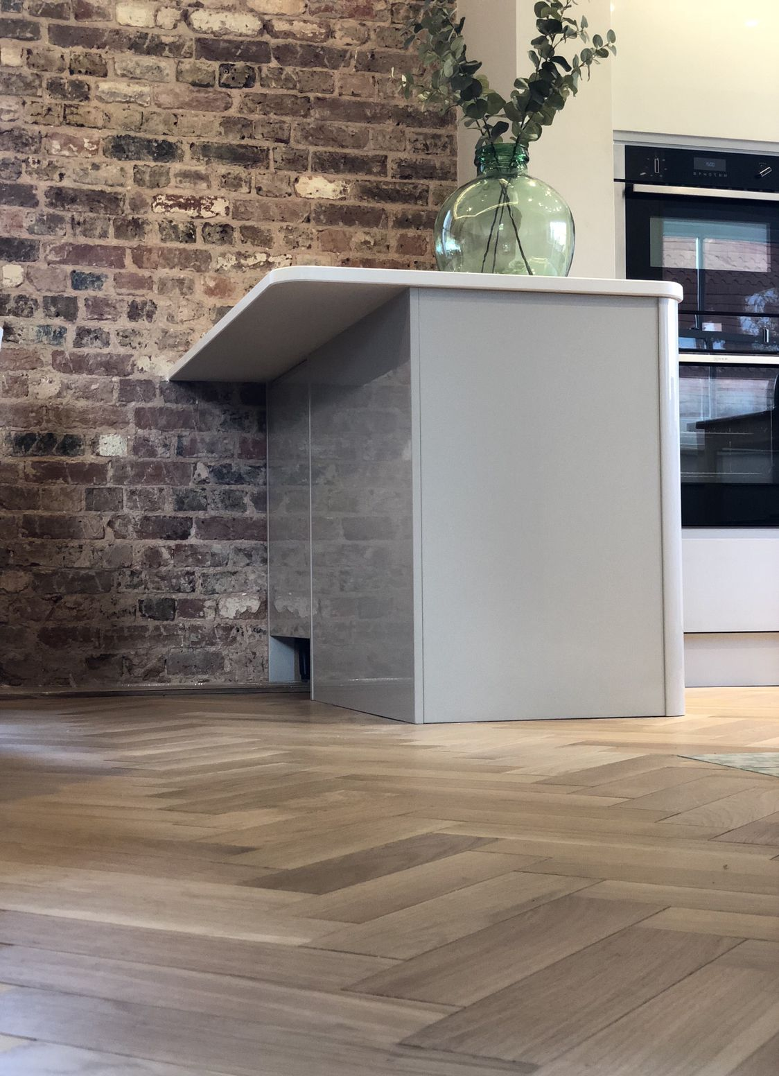 Gloss Grey Kitchen From Wren Kitchens Exposed Brick Wall And Our