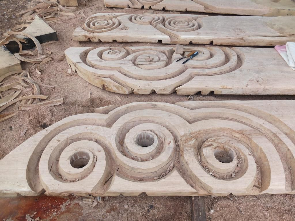 Oak gateways inspired by Bronze age stone carvings. A spectacular addition to children's play area by @KeithAPettit