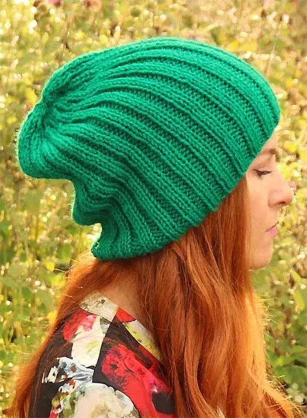 Free Knitting Pattern For Ribbed Slouch Beanie Easy Slouchy Hat Is