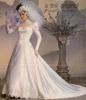 Vintage 1986 Fink Wedding Gown With Headpiece Veil And Crinoline All Preserved