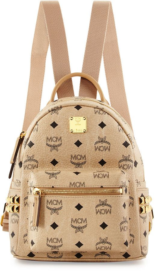 MCM Stark Side Stud Mini Backpack, Beige | Mcm bag backpacks