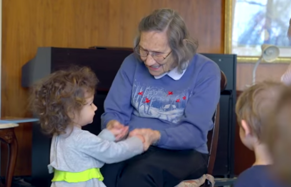 For the elderly, daily interaction with the young is very beneficial. What Happens When You Combine a Nursing Home With a Preschool? http://www.visiontimes.com/2015/06/16/what-happens-when-you-combine-a-nursing-home-with-a-preschool.html