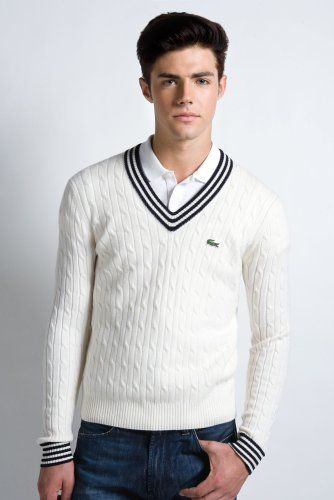 d81a3dcd Lacoste Red! Collection Cashmere Cable Knit Tennis Sweater | Tennis ...