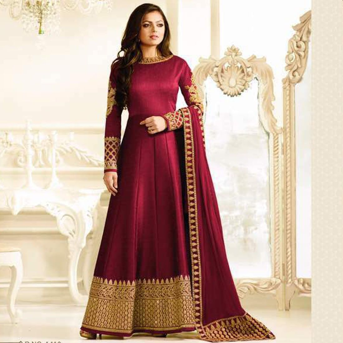 f1a8748b96 Buy Craftsvilla Maroon Color Bhagalpuri Silk Embroidered Frock Style  Semi-stitched Anarkali Suit online. ✯ 100% authentic products, ✯ Hand  curated, ...