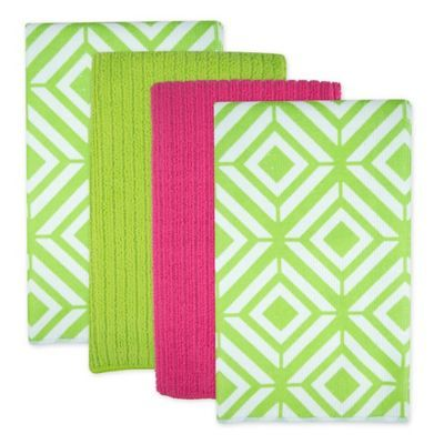 Design Imports Diamond Microfiber Kitchen Towels Set Of 4