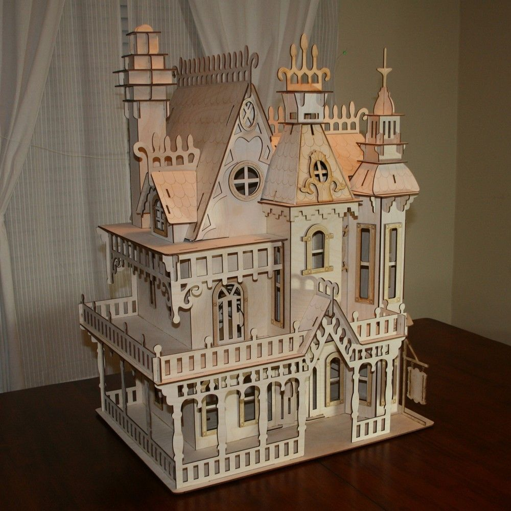 Victorian miniature houses - Victorian Doll House Birch Plywood Laser Cut Kit It Measures 23