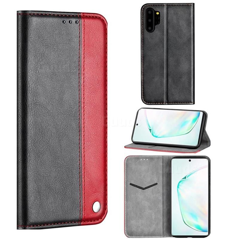 Classic Business Ultra Slim Magnetic Sucking Stitching Flip Cover for Samsung Galaxy Note 10+ (6.75 inch) / Note10 Plus - Red - Galaxy Note 10 Pro / Note10+ Cases - Guuds