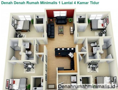 contoh gambar denah rumah sederhana 1 lantai 4 kamar tidur