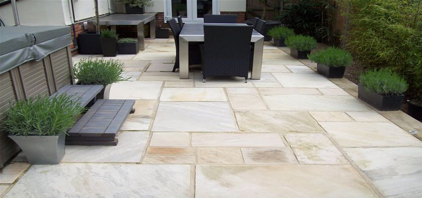 Indian sandstone from spooners turf one of our patios for Patio slabs design ideas