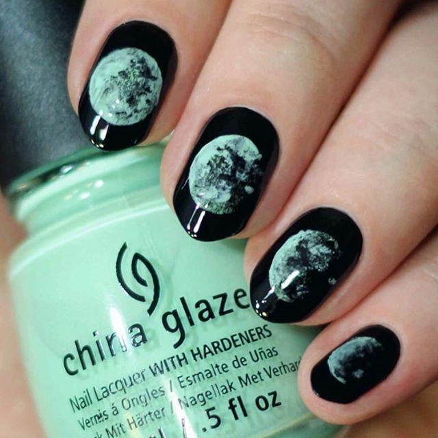 black moon nails #nailart #nails