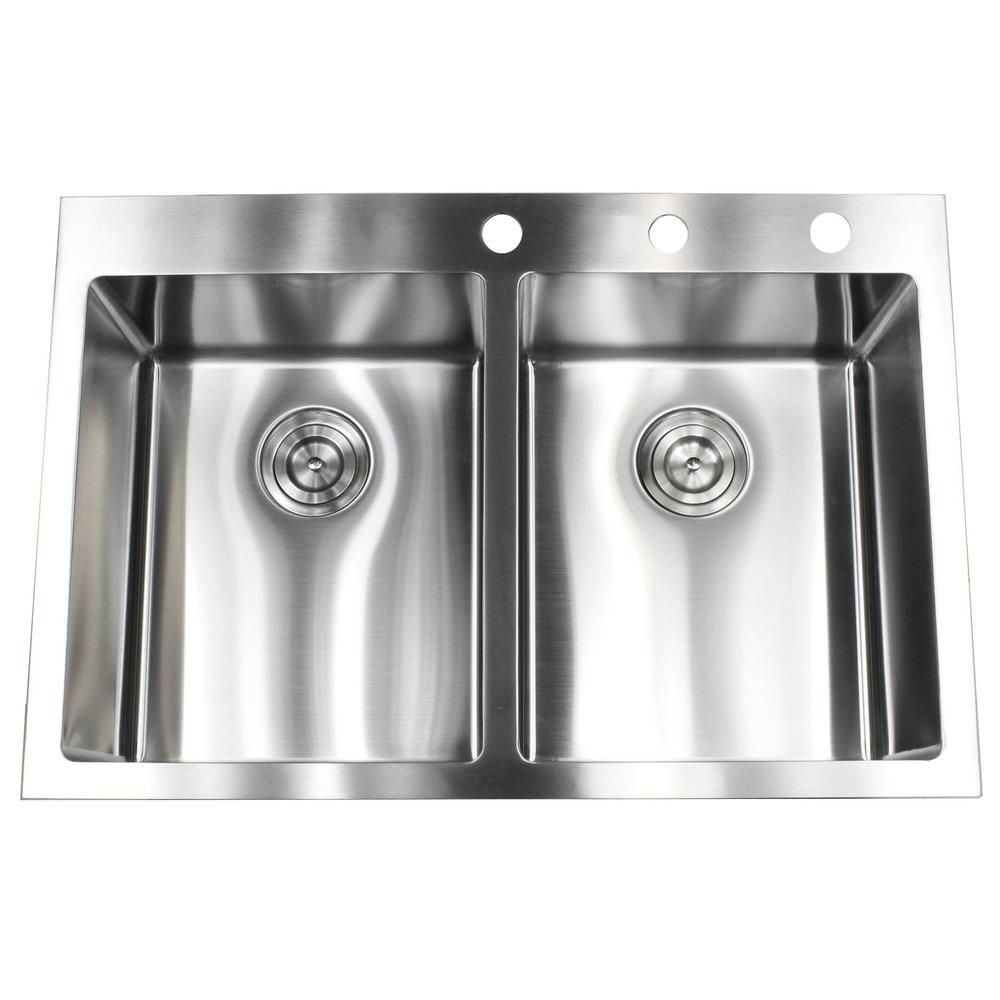 Drop In Top Mount 16 Gauge Stainless Steel 33 In X 22 In X 10 In 50 50 Double Bowl Kitchen Sink Rt3322 5050 Double Bowl Kitchen Sink Top Mount Kitchen Sink Sink