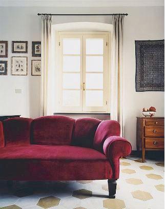 Living Room In An Italian Villa With A Red Velvet Sofa Gold And White Tile Floor Fram Country Living Room French Country Living Room Velvet Couch Living Room