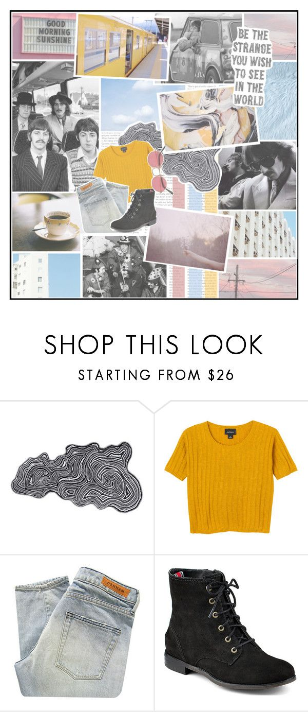 """""""The magical mystery tour is coming to take you away // Coming to take you away // The magical mystery tour is dying to take you away // Dying to take you away, take you today"""" by partyondudes ❤ liked on Polyvore featuring Abyss & Habidecor, Monki, Denham, Sperry Top-Sider, MasterOfHashtags and FelineIcide"""