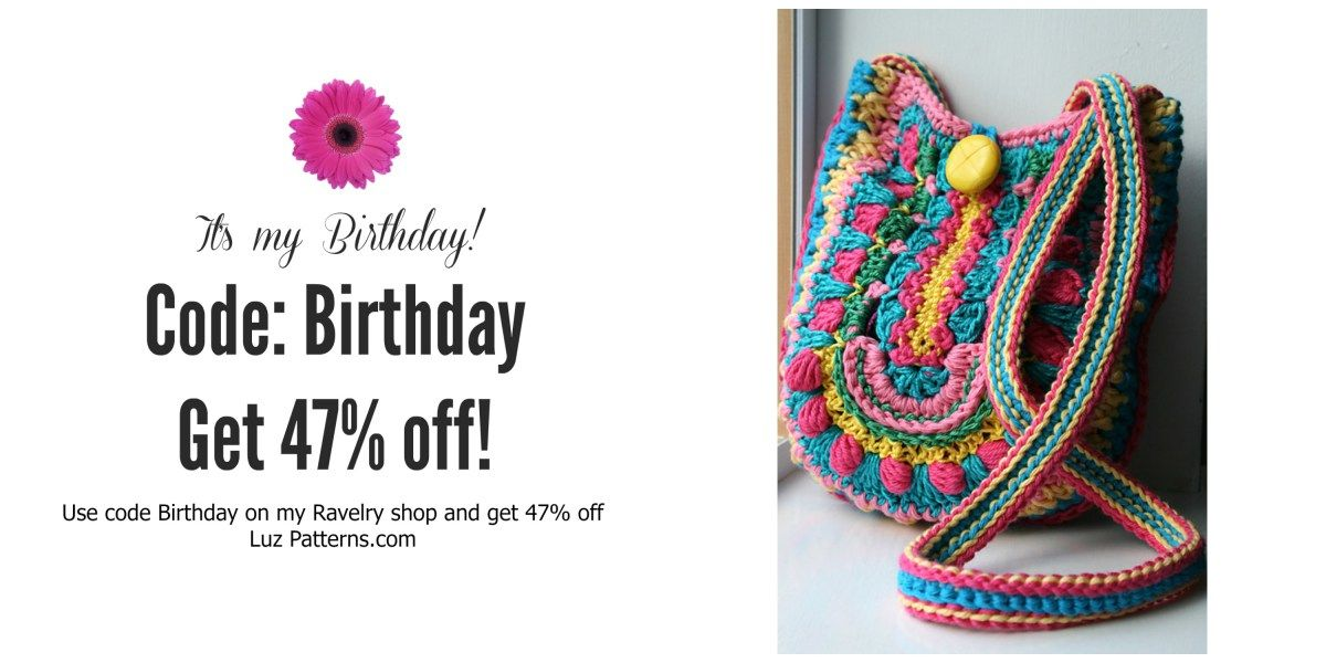 Today is my Birthday! you get 47% off! | Crochet Bags | Pinterest