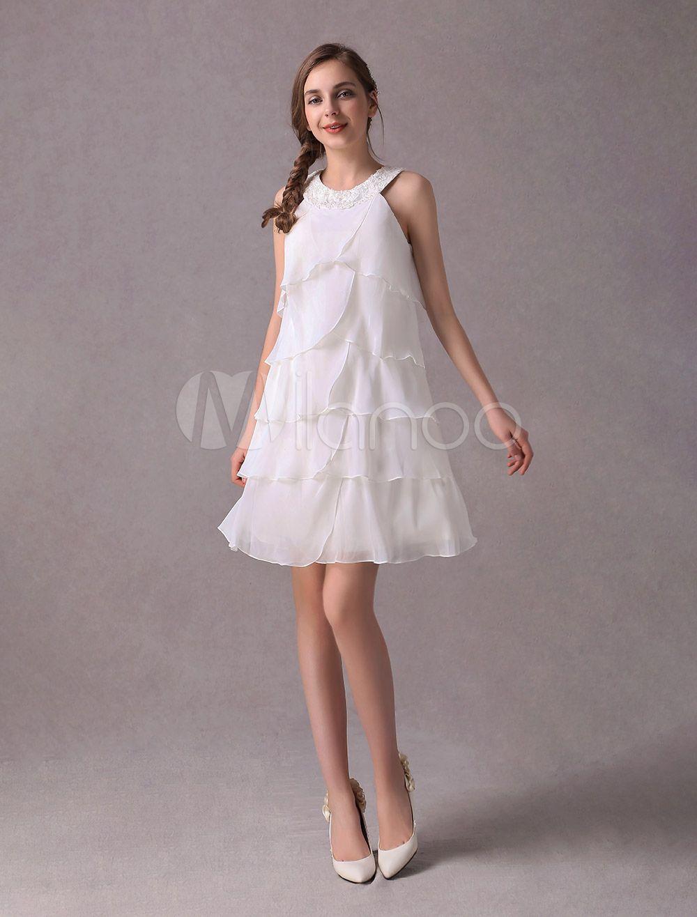 Halter style wedding dresses  Short Wedding Dresses Ivory Chiffon Cocktail Party Dress Beaded