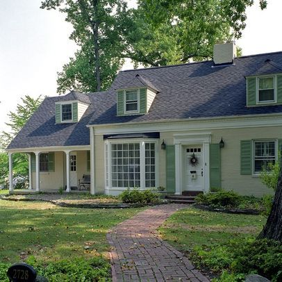 Yellow House Light Green Shutters Google Search Green Shutters Cottage Front Doors House Exterior Color Schemes