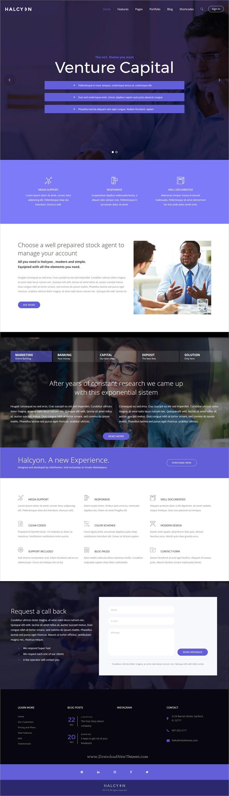 Hilcy Responsive HTML Template Pinterest Business Website - Venture capital website template