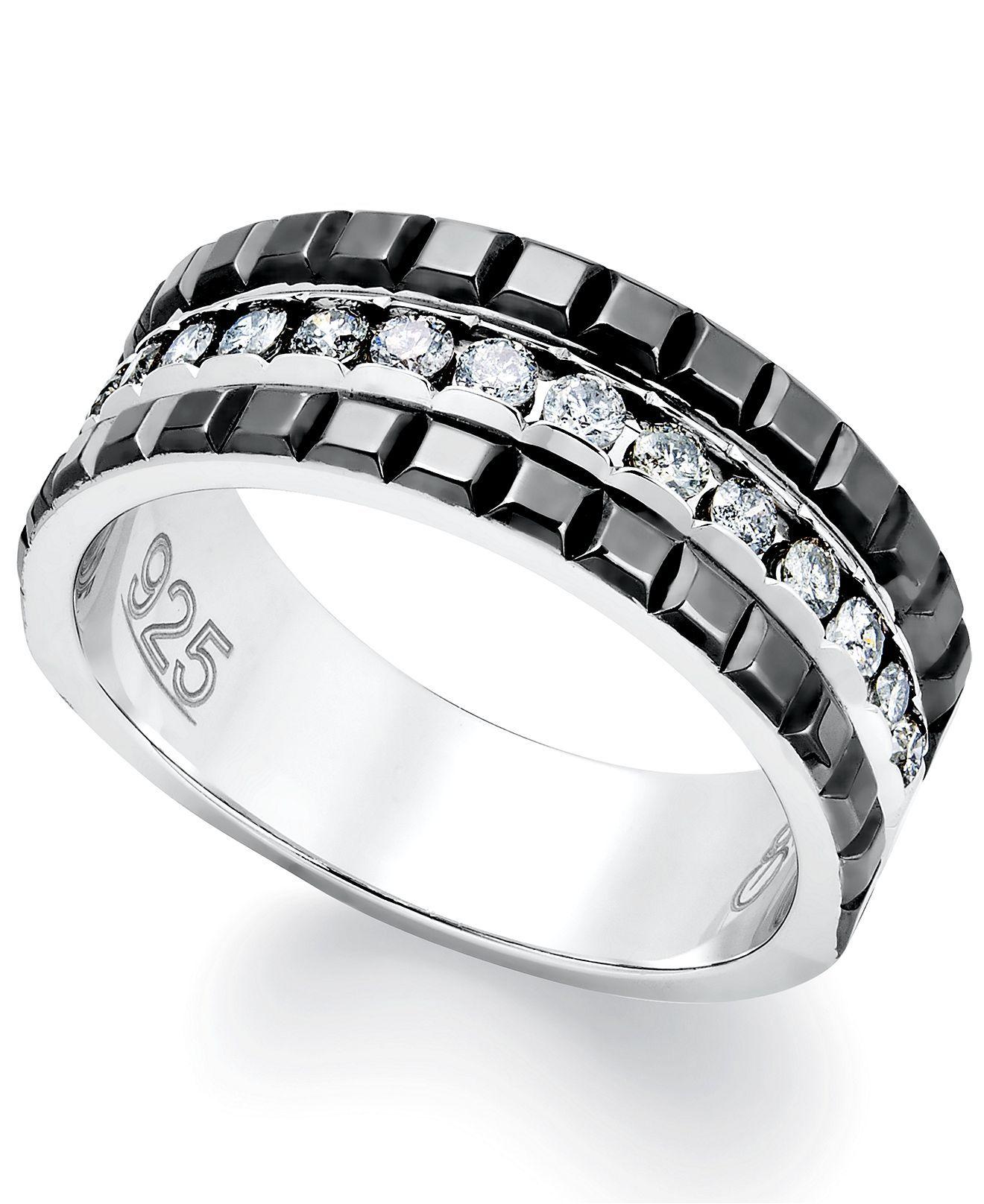 Mens Diamond Ring, Sterling Silver and 2Row Black Enamel