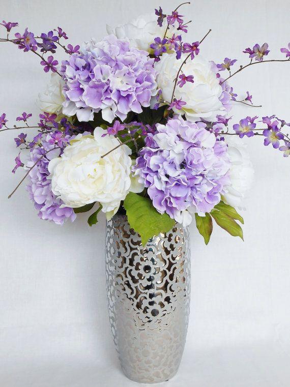 Artificial Flower Arrangement, White Peonies, Lavender Hydrangea, Silver Vase, Silk Flower