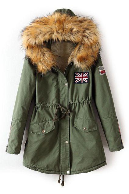 Drawstring Hooded Long Sleeves Army Green Coat in 2020
