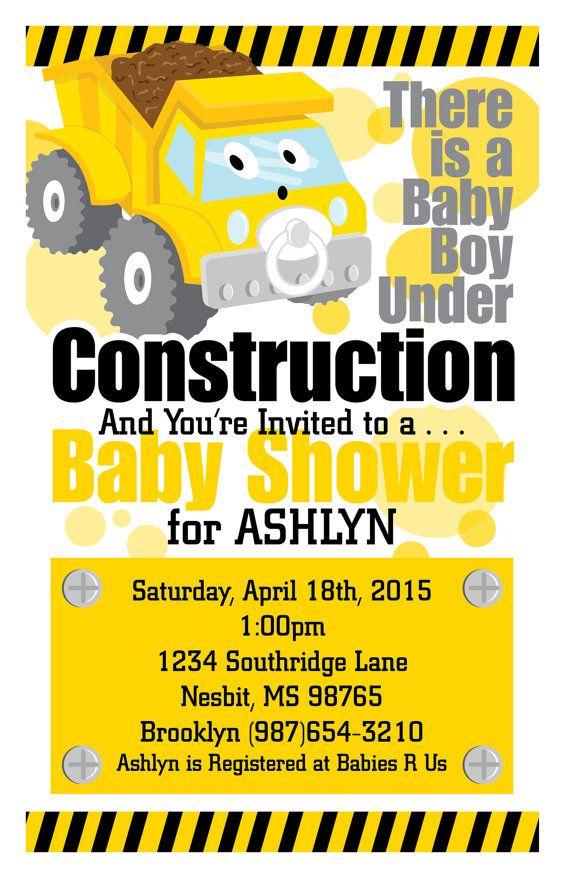 Custom Construction Baby Shower Invitation | BABY: Shower Ideas ...