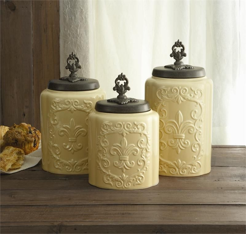 Antique Fleur De Lis Cream Canister Set  Ebay  French Country Awesome Kitchen Jar Set Decorating Design