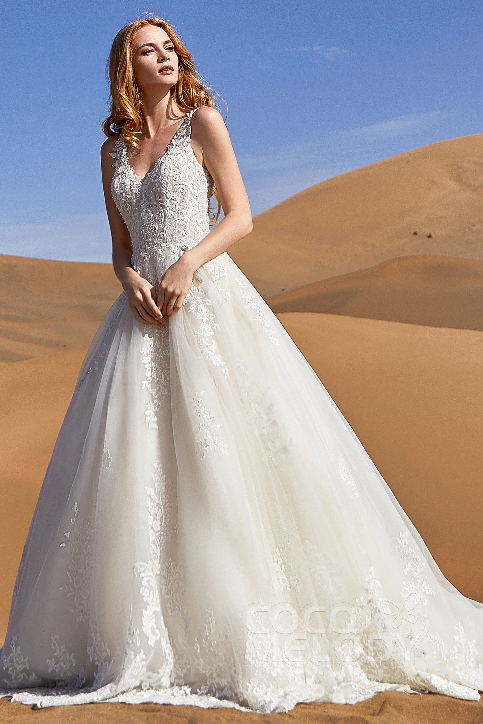 9212a1e20d A-Line Court Train Tulle and Lace Wedding Dress  LD5813  cocomelody   weddingdress  bridalgown  newcollection2019