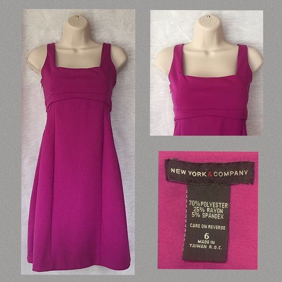 Little purple dress by New York & Company Wear a bright purple instead of your regular little black dress to your next cocktail party.  Excellent condition and VERY comfortable.  Easy wash and wear - no ironing necessary and great for travel and super busy gals! New York & Company Dresses
