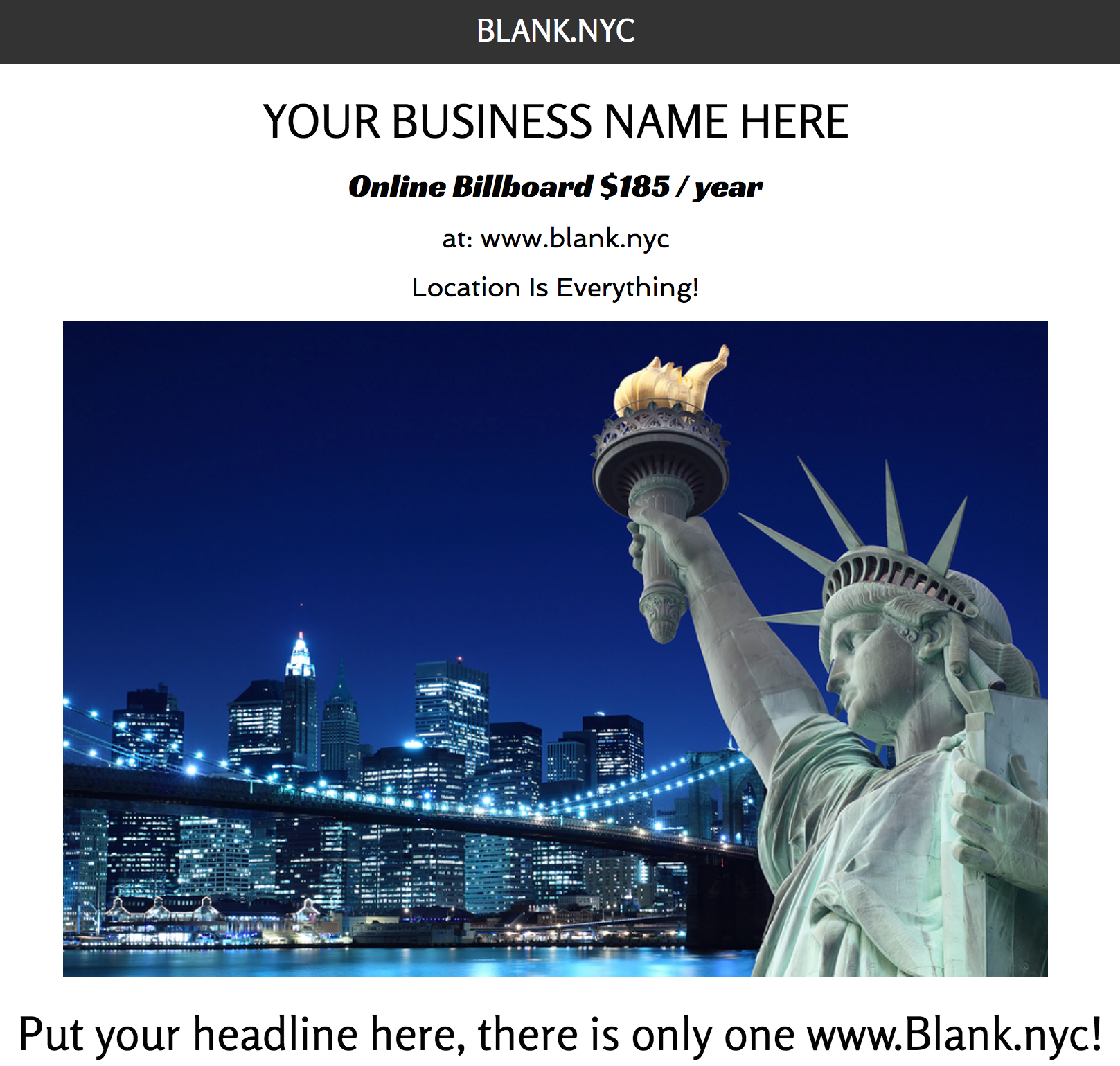Digital Property Www Blank Nyc Available For Rent 185 Year Business Names Billboard Social Media
