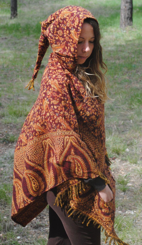 100% Yak Wool Hooded Poncho - Shawl Elven Hood Hippie Travel Gypsy ...