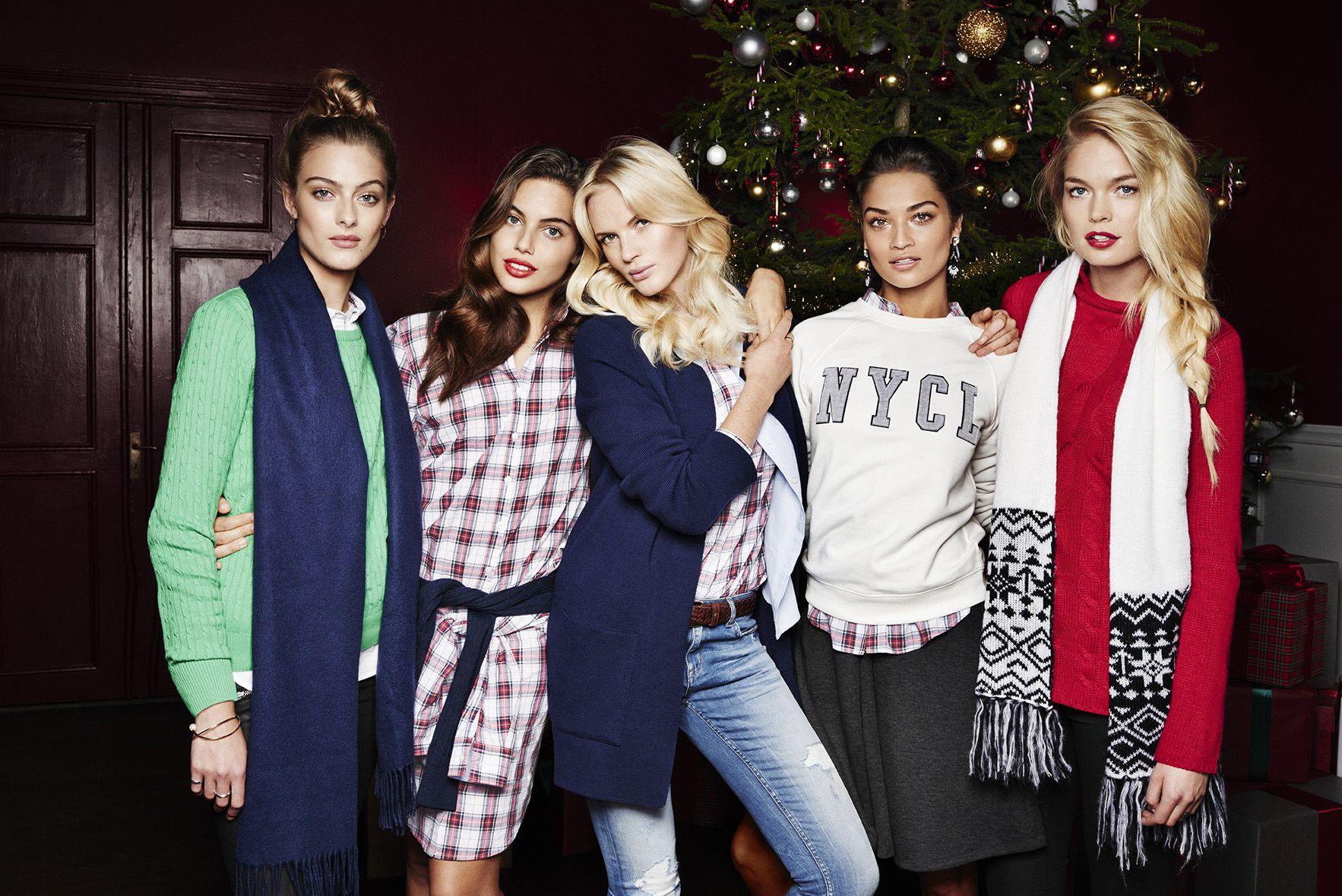 Shanina Shaik, Anne Vyalitsyna, Shiloh Malka, Lone Praesto Nordström, Klara Wester for Gina Tricot Christmas 2014.