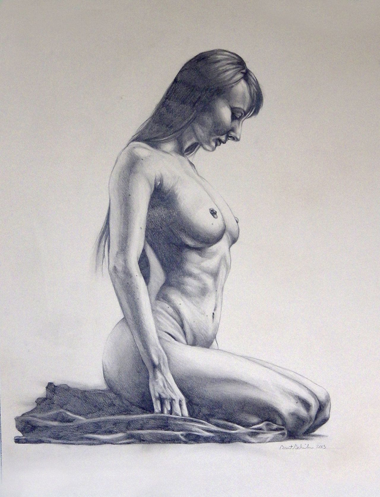 Nude female original drawing charcoal fine art naked woman hand on chest bin