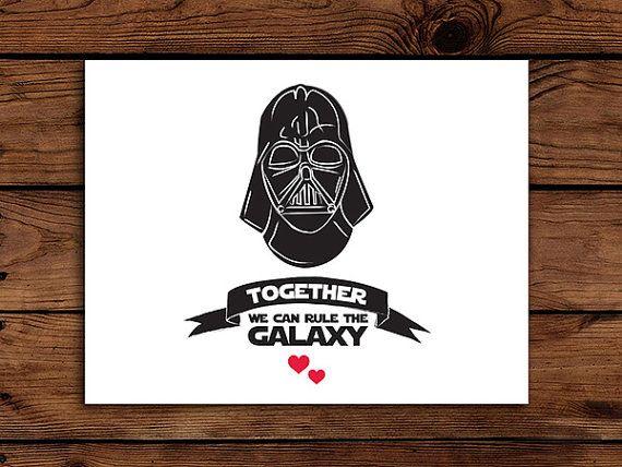 Star Wars Valentine Card Printable Darth Vader Together We Can