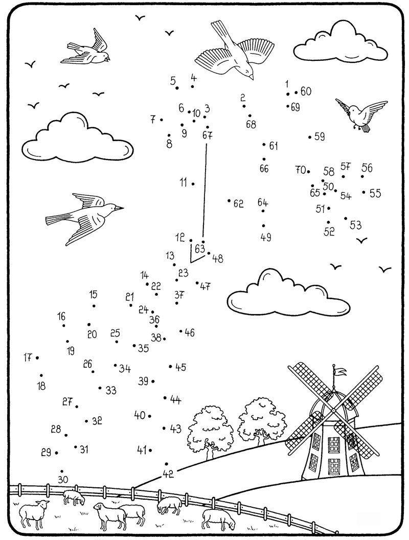 Ausmalbild Malen nach Zahlen: Malen nach Zahlen: Drachen steigen ...