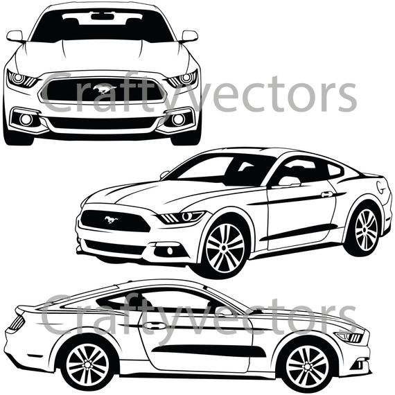Ford Mustang 2015 Vector Svg Cut File